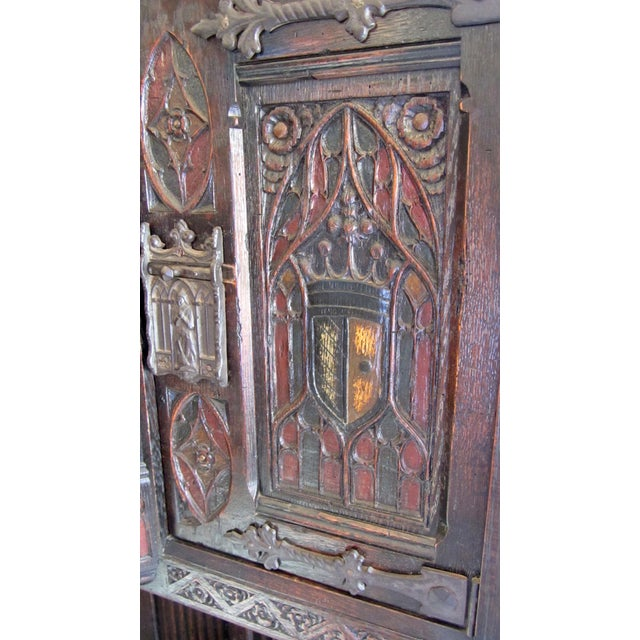 Gothic Revival Carved Oak Monastery Cabinet - Image 6 of 10