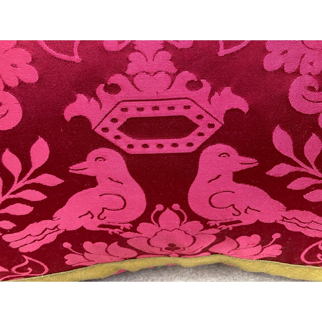 Scalamandre Scalamandre Raspberry Red Silk Pillow For Sale - Image 4 of 5