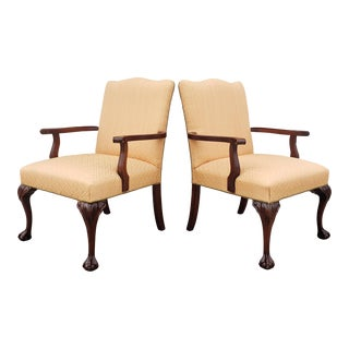 1960s Vintage Hickory Chair Company Solid Mahogany Living Room Chairs - a Pair For Sale