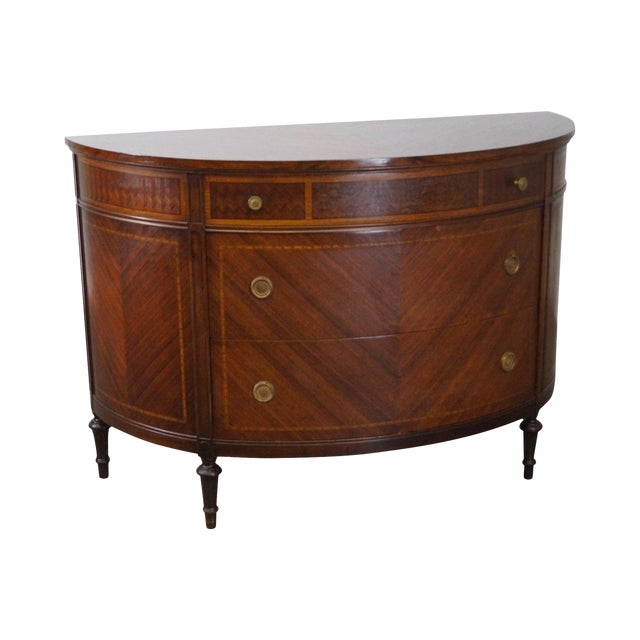 Antique 1920s Demilune Inlaid Walnut Louis XVI Style Chest of Drawers - Image 1 of 10