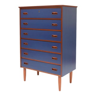 Vintage Danish Modern Upcycle Navy Blue Painted Teak Tallboy C. 1960's