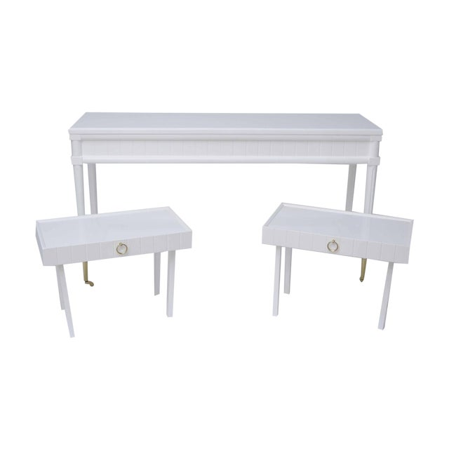 Lacquered Console Table & Pullout Side Tables - Image 1 of 4