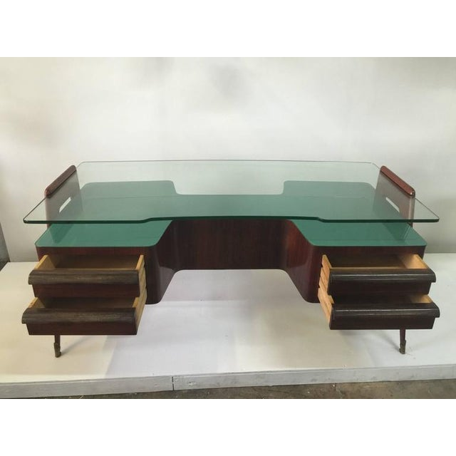 Mid-Century Modern Rosewood Desk by Paolo Buffa with Floating Glass Top For Sale - Image 3 of 9