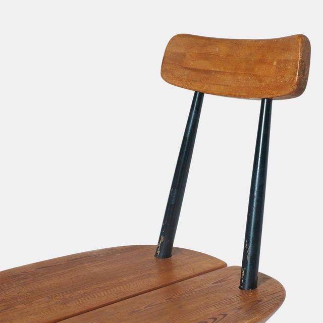 "Lacquer ""Pirkka"" Sculptural Pine and Black Lacquer Chairs by Ilmari Tapiovaara - Set of 6 For Sale - Image 7 of 11"
