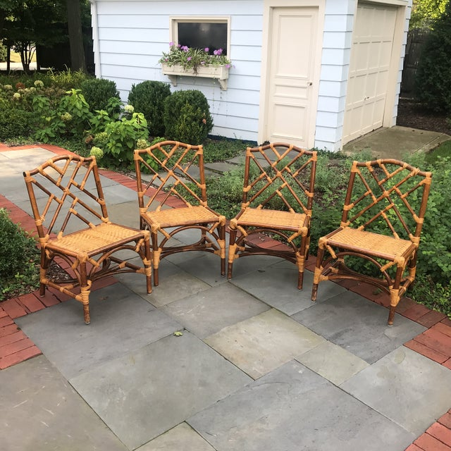 1960s Traditional Bamboo and Rattan Chairs - Set of 4 For Sale - Image 11 of 11