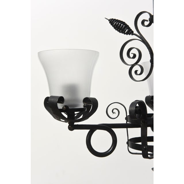 Three Light Wrought Iron Chandelier For Sale - Image 11 of 12