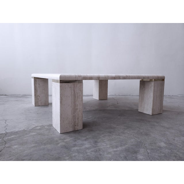 Hollywood Regency Vintage Square Italian Travertine Coffee Table For Sale - Image 3 of 7
