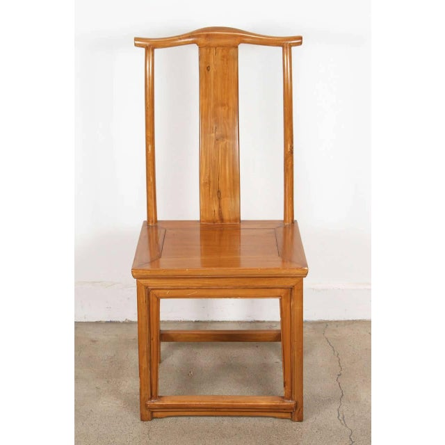Elm Chinese Ming Style High Back Elm Chairs - a Pair For Sale - Image 7 of 8