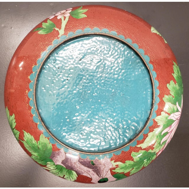 Red Circa 1970 Chinese Cloisonne and Brass Floral/Butterfly Motifs Brush Washer Bowl For Sale - Image 8 of 9