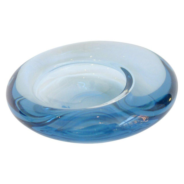"Asymmetrical ""Avka"" bowl in a heavy blue Sommerso art glass designed by Per Lütken. Signed and numbered."