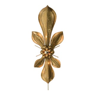 Global Views Brass Fleur De Lis Wall Sconce