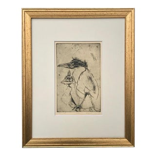 Modernist Expressionist Etching of Birds by Gerard Haggerty 1961 Artist Proof For Sale