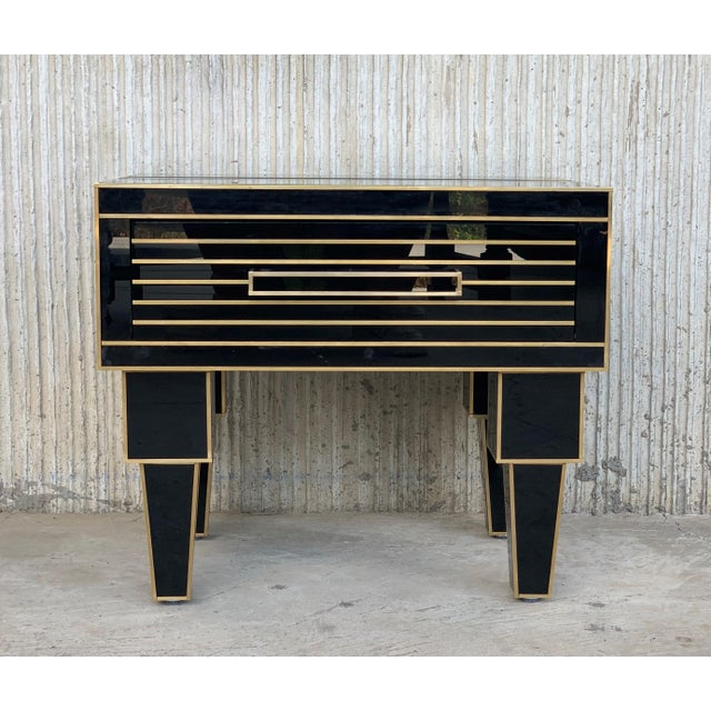 New Pair of Mirrored Low Nightstand in Black Mirror and Chrome With Drawer For Sale - Image 4 of 10