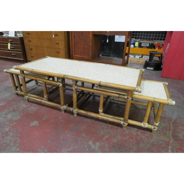 Bamboo 1960s Mid Century Modern Bamboo Coffee Table Set - 3 Pieces For Sale - Image 7 of 7