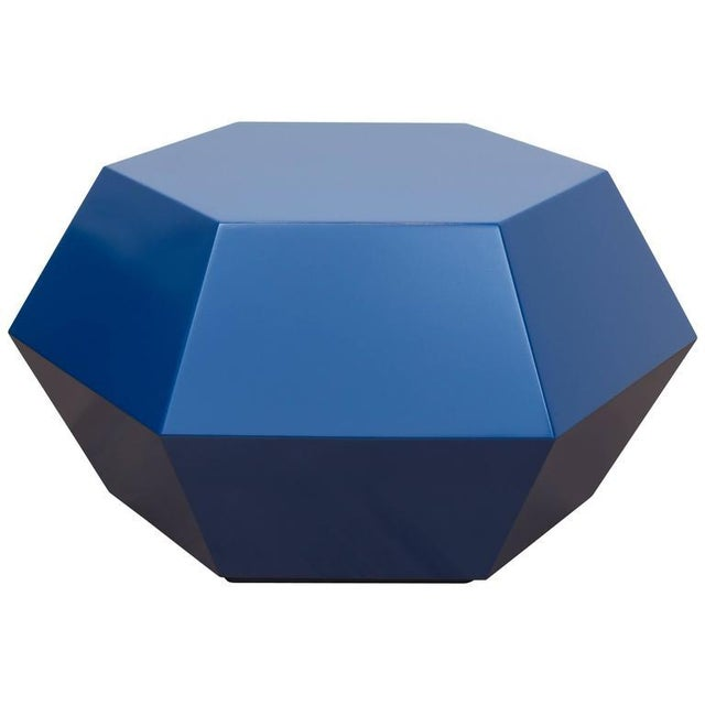 Lacquered Navy Faceted Cocktail Table For Sale In San Francisco - Image 6 of 6