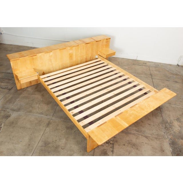 1970s Maple Platform California King Bed With Floating Nightstands by Gerald McCabe For Sale - Image 5 of 13