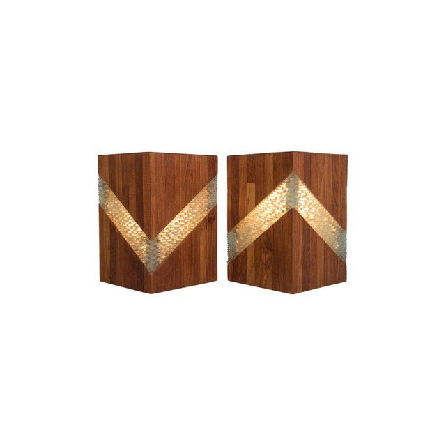 1950s Midcentury Teak and Glass Table Lamps, Set of Two For Sale - Image 5 of 9