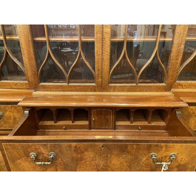 Brown Vintage Mahogany Breakfront With Butlers Desk For Sale - Image 8 of 12