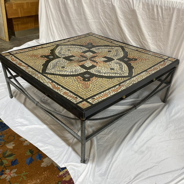 Rustic Boho Faux Mosaic Painted Tile Coffee Table For Sale - Image 3 of 11