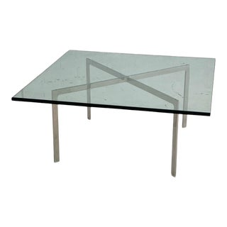 Mid Century Chrome and Glass Square Cocktail Table For Sale