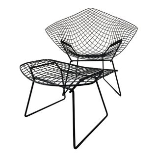 Late 20th Century Harry Bertoia for Knoll Black Diamond Wire Chair & Ottoman For Sale