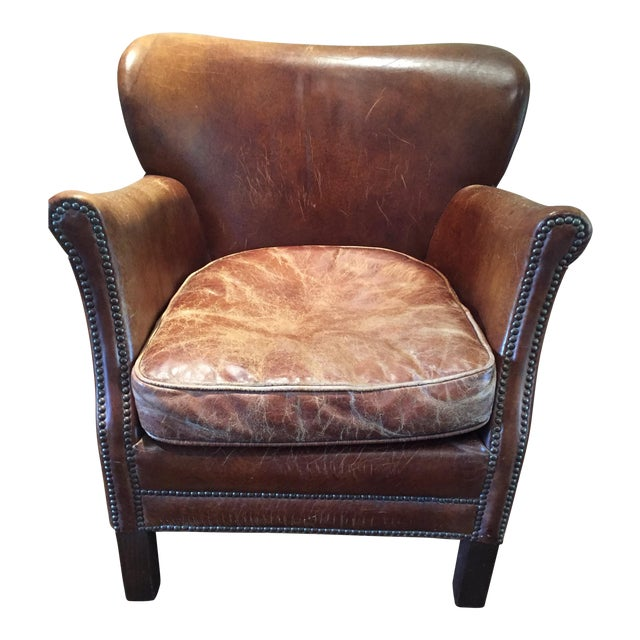 Restoration Hardware Professor's Leather Chair For Sale