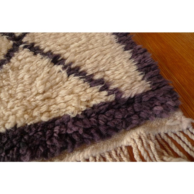 Moroccan Beni Ourain Purple Rug - 3′10″ × 5′1″ - Image 6 of 6