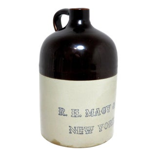 Antique Macy's New York Stoneware Jug For Sale