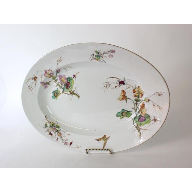 Limoges, France Limoges Delinieres & Co Porcelain With Floral Design Serving Platter from Late 1800s For Sale - Image 4 of 12