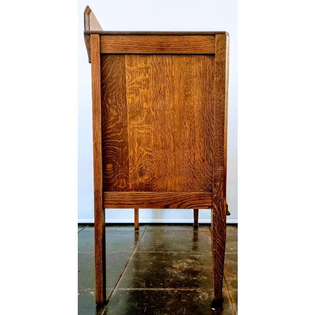 Art Nouveau Antique English Oak Arts & Crafts Sideboard / Buffet For Sale - Image 3 of 13