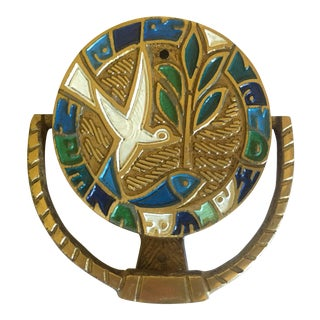 "Mid Century Modernist 1970 Brass & Enamel "" Clean Air Land Water "" Peace Dove Door Knocker For Sale"