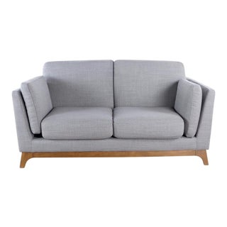 Article Mid Century Modern Style Gray Upholstered Two Cushion Sofa For Sale