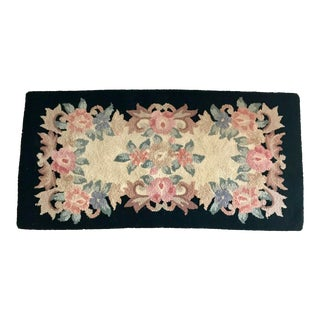 Antique Handmade Hooked Rug For Sale