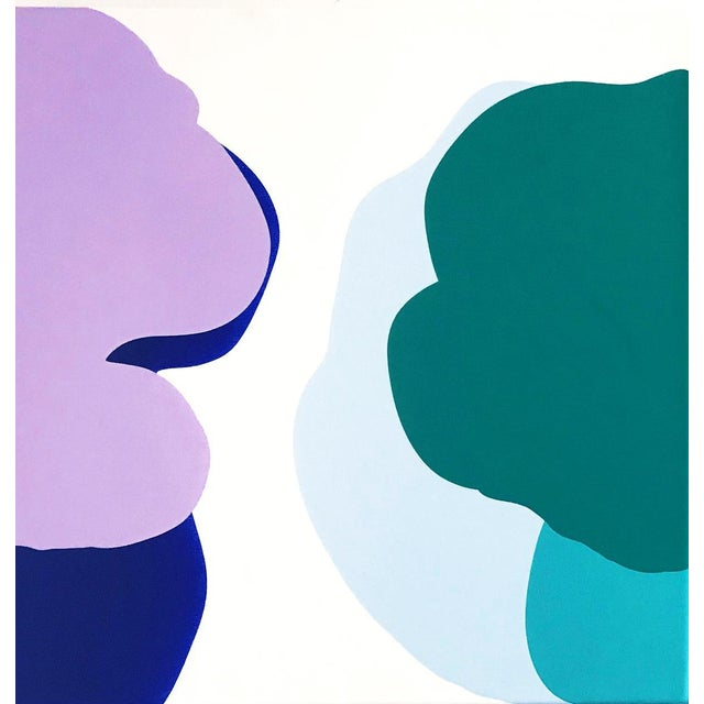 This colorful abstract amorphous painting is by Brooklyn based artist, Carolanna Parlato. This diptych conveys a vivid...
