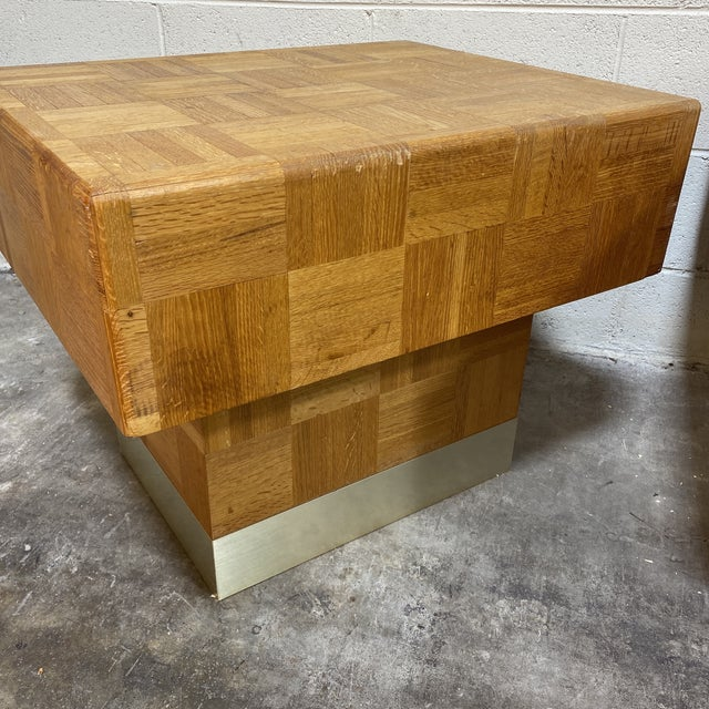 70s Parquet End Tables- a Pair For Sale - Image 4 of 11