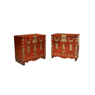 Pair Antique Korean Elm Brass Chests For Sale