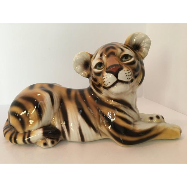 Large Scale Mid Century Italian Hand Painted Majolica Resting Tiger For Sale - Image 13 of 13