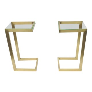 Guy Lefevre for Atelier Jansen Brass Side Tables - a Pair For Sale