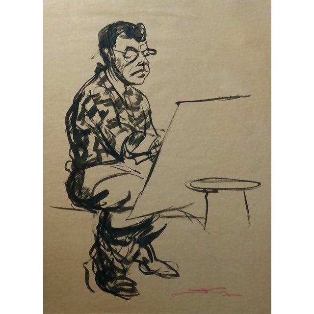 "Emil Kosa Jr ""Self-Portrait"" Original 1950s Ink on Paper Painting For Sale - Image 4 of 7"