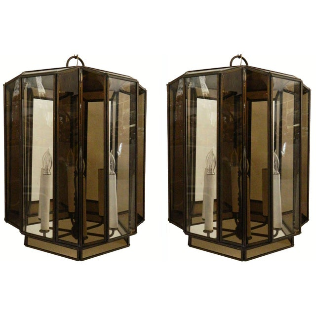Impressive pair of brass and glass six-light lanterns. Wired for US and in working condition; 100W/socket bulbs. Original...
