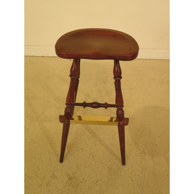 Traditional Frederick Duckloe Cherry Saddle Seat High Seat Bar Stools - Set of 3 For Sale - Image 3 of 11