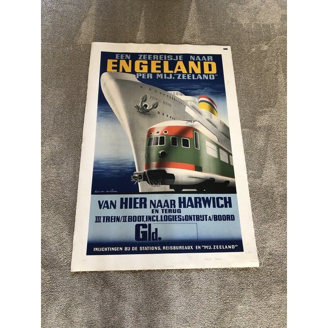 """Dutch poster advertising the """"boat train"""" presumably from Hoek van Holland to Harwich"""" Gorgeous and vibrant. Truly a..."""
