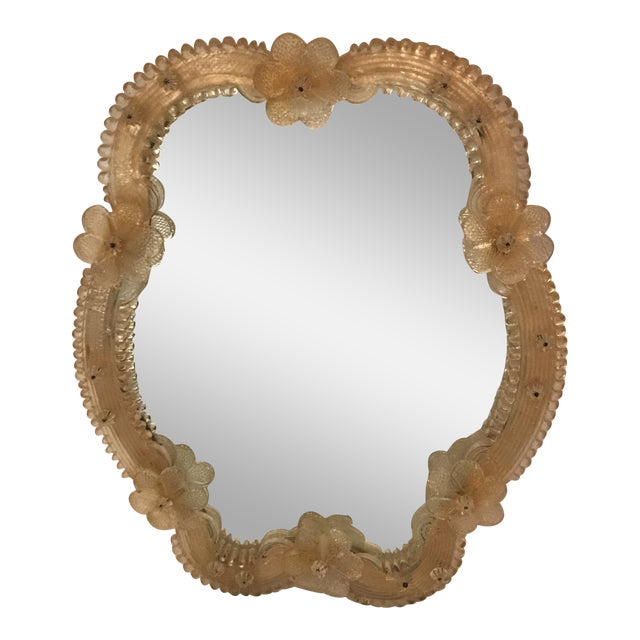Venetian Glass Vanity Mirror on Stand For Sale