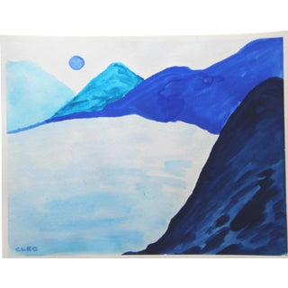 Blue Mountain Chinoiserie Lanscape by Cleo Plowden For Sale
