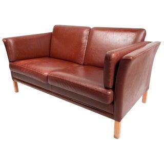 Mid-Century Modern Danish Leather Loveseat For Sale