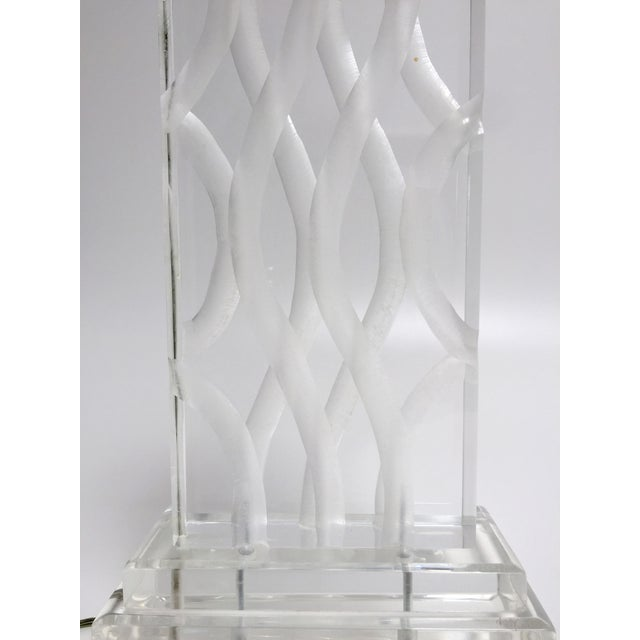 Vintage Van Teal Carved Lucite Table Lamp - Image 8 of 10