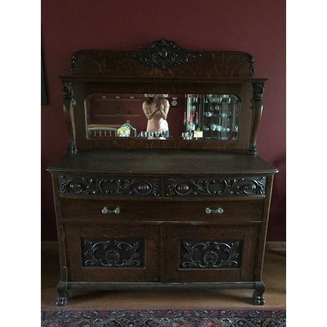 Antique Tiger Oak Buffet With Mirror - Image 5 of 11