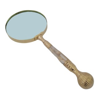 Vintage Mid 20th Century Brass Magnifying Glass With Mother of Pearl Inlay in Wooden Box For Sale