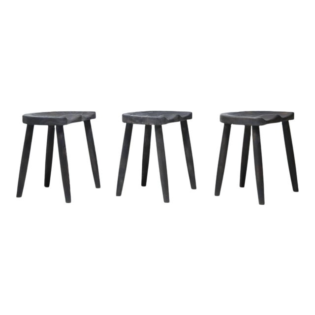 Studio Stools in Blackened Wood by Robert Roakes, USA, 1970s - Image 1 of 6
