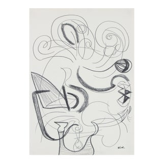 Surrealist Abstract in Graphite, Late 20th Century